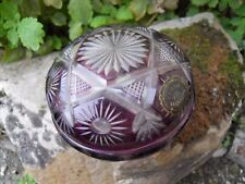 Ancienne boite bonbonnière violette en cristal taillé