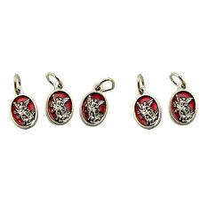 Red Enamel Saint Michael Pray for Us Medal Charm Pendant, Set of 5, 5/8 Inch