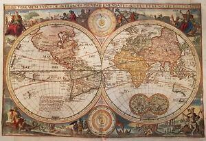 1700 WORLD MAP MAPPE MONDE ORIGINAL MAP BY VISSCHER