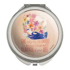 Give Everyday Beautiful Life Flowers Bird Compact Purse Handbag Makeup Mirror