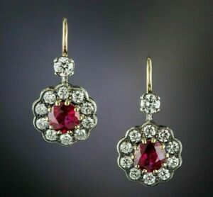 2.00 Ct Round Cut Red Ruby & Diamond Drop Dangle Earrings 14k Yellow Gold Over