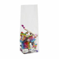 50 x CLEAR BLOCK BOTTOM CELLOPHANE GIFT BAGS WITH CARDBOARD BASE - 110MM X 220MM