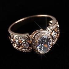 Luxus Damen Ring Zirkonia weiss 750 Gold 18 Karat vergoldet rosegold R2534