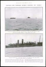 1916-antica stampa Naval Liner TORPEDO Arabia sottomarino Mediterraneo (133)