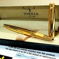 24k Gold Plated Metal Parker Aster Rollerball Pen Black Ink Shiny Gift Box Boxed