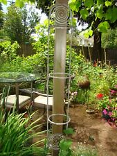 Antique French Wrought Iron Plant Stand three tier wall or post hanging