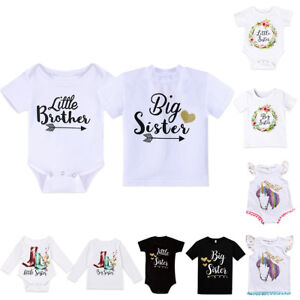 Toddler Kids Baby Boy Girl Little Brother Romper Bodysuit Big Sister T-shirt Top