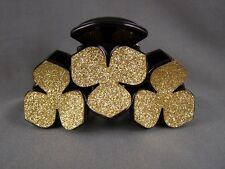 """Gold Black sparkly glittery plastic 3.25"""" long barrette hair clip claw clamp"""