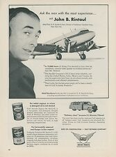 1953 Gulf Aviation Oil Ad John B. Rintoul Pilot DC-3 E. R. Squibb & Sons