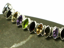 Multistone  Sterling  Silver  925  Gemstone  BRACELET -  Gift Boxed