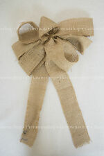 "Burlap Bows 9"" across 12"" streamers Wedding decor Pew Bow Chair Sash Natural"