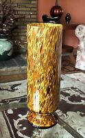 "Contemporary Italian Art Glass Cylinder Pedestal Vase Brown Amber Gold 13"""