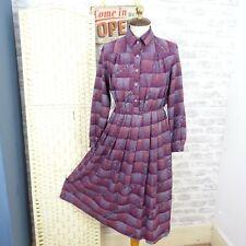 Vintage Japanese tea dress floral lined boho secretary granny chic poly S D803