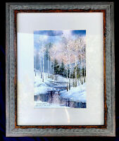 Lithograph Watercolor Limited Edition 644/750 Winter Forest River Scene Gift