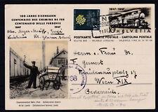 Schweiz Eisenbahn Bildpostkarten Ganzsache mit Zusatzfrankatur zensuriert