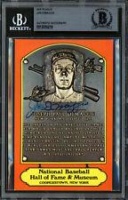 Joe DiMaggio Autographed HOF Plaque Postcard Yankees (Smear) Beckett 12059219