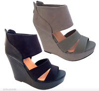 High Block Heel Platform Wedge Shoes Cuff Peep Toe Strap Suede Hot Womens Ladies