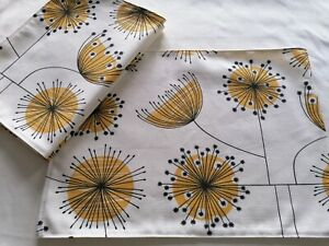 Set of 4 Dandelion Fabric placemats tablemat Ochre Yellow Black