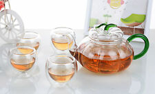 5in1 Glass Tea Set - 600ml Pumpkin Shaped Teapot + 4x 70ml Double Wall Tea Cups
