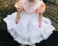 Vintage Pageant Toddler Girls Dress Peach Ruffles Lace Satin Sheer Floral White