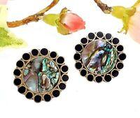 Vintage Mexican Alpaca & Abalone Paua Shell Earrings - Mexico