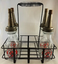 MOHAWK INDIAN GAS STATION ADVERTISING MOTOR OIL GLASS BOTTLES WITH CARRYING RACK
