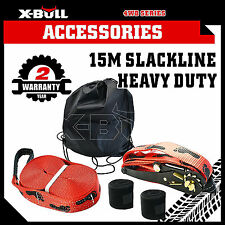 X-BULL Slackline Base Line Heavy Duty 15m X 5cm Entry Level Kit