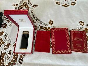 Cartier Feuerzeug Vintage Schwarz Silber Gold Trinity