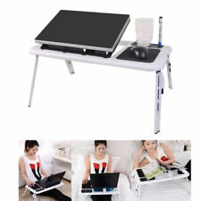 Portable Folding Laptop Desk Computer Table W/Cooling Fan For Bed Sofa Couch