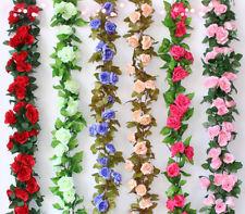 2.4M String Fake Artificial Rose Flowers Vine Ivy Leaf Garland Floral Home Decor