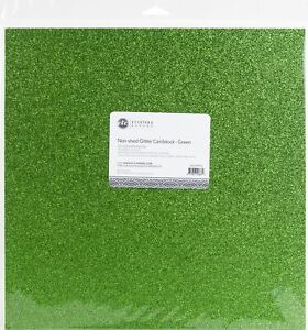 """Etc Papers Non-Shed Glitter Cardstock 12""""X12"""" 10/Pkg-Green"""