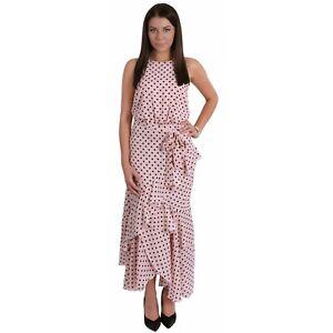 Pink, Polka Dot Print, Halter Neck, Ruffle Hem Maxi Dress For Ladies FOREVER UNI