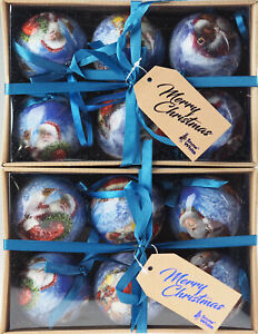Set Of 12 Blue Father Christmas Santa Tree Baubles Decorations