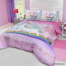 UNICORN Horse Decoration Comforter Bedroom FULL Girls Gift Pink Rainbow 3 PIECES