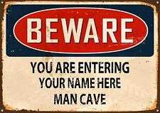 Personalised Beware Man Cave Metal Sign Vintage Style Home Wall Door Plaque