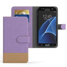 Tasche für Samsung Galaxy S7 Jeans Cover Handy Schutz Hülle Lila