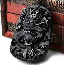 100% NATURAL OBSIDIAN CRYSTAL PENDANT CARVING Dragon pendant  FF00