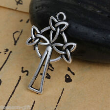 2PCs Silver Tone Celtic Knot Hollowed Tree Pendant Necklace Jewelry 3x1.9cm