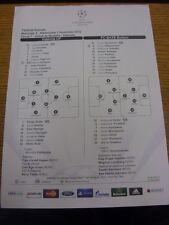 07/11/2012 COLORI teamsheet: Valencia V BATE BORISOV Champions League [] (piegato)