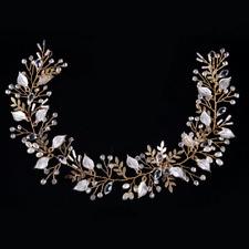 Fashion Wedding Bridal Gold Silver Rhinestone Pearl Leaf Vine Hairband Headband