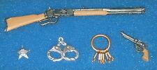 Sheriff Set Gun Star Badge Handcuffs Keys & Rifle 5005 1:12 Dollhouse Miniature