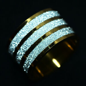 Big Sparkling Mens Womens Band Ring Stainless Steel Rings Man Jewelry Size 9