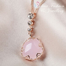 18K Rose Gold Plated Simulated Opal Elegant Light Pink Oval Necklace