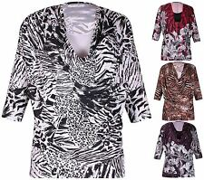 Cowl Neck Animal Print Plus Size Tops & Shirts for Women