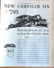 Vintage 1930 magazine ad for Chrysler Six - Lowest priced ever to bear name