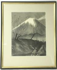 William Ernest Chapman Graphite On Paper Mount Fuji Landscape Framed 23 x 19""