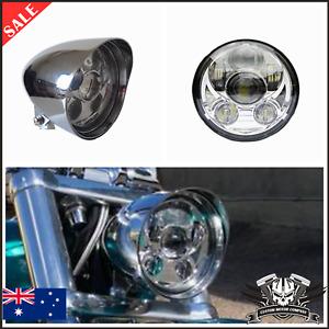 "5.75"" Chrome LED daymaker headlight Harley SOFTAIL FXSTD Deuce FXCWC Rocker"