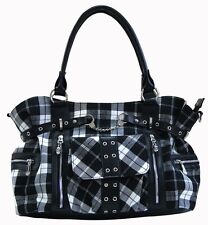 Banned Handbag Shoulder Tartan Cross Body Bag Rockabilly Checked Black White