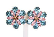 038d90dfb213 Nuevo Dolce   Gabbana Pendientes Latón Dorado Floral Cristal Azul Grande de  Clip