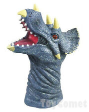 Triceratops Dinosaur Head Realistic Rubber Animal Hand Puppet Toy